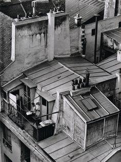 Andre Kertesz, Latin Quarter, Paris (man on rooftop balcony), 1926 Andre Kertesz, Old Paris, Vintage Paris, French Vintage, Paris Paris, Robert Doisneau, Vintage Photography, Street Photography, Bw Photography