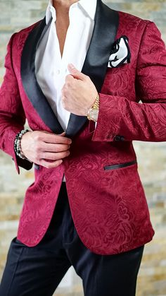 A Sexy Burgundy & Black Paisley Dinner Jacket that can only be found here! Ready to Be Bold?