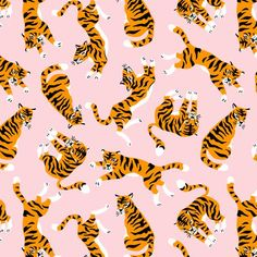 Retro Wallpaper Discover Colorful fabrics digitally printed by Spoonflower - Tigers on the pink backround (small) Tigers on the pink backround fabric by alenkakarabanova on Spoonflower - custom fabric Art And Illustration, Illustrations Posters, Cute Backgrounds, Cute Wallpapers, Pink Backround, Iphone Background Pink, Pattern Floral, Cute Tigers, Photo Wall Collage
