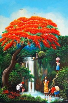 Haitian art is a complex tradition, reflecting African roots with strong Indigenous American and European aesthetic and religious influences. Afrique Art, African Art Paintings, Haitian Art, Caribbean Art, Art Africain, Tropical Art, Afro Art, African American Art, Naive Art