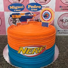 Nerf Party Food, Nerf Birthday Party, Boy Birthday, Birthday Ideas, Bolo Nerf, Nerf Gun Cake, Gun Cakes, Massage, Beautiful Pictures