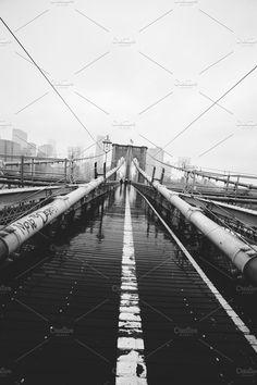 Brooklyn Bridge symmetry & skyline by Sweetmango on @creativemarket  brooklyn bridge poster, rain, wide angle, rokinon 14mm 5dm2, skyline, move to detroit