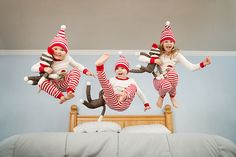 3 little monkeys jumping in the bed! @emilyrosemagic One day we are doing this! When the kids are older...