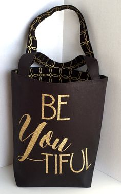 1c5397d9b210 Canvas Tote Bag with a Quote BeYoutiful Black Canvas Gold Glitter Canvas  Purse