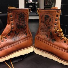 Sailor jerry style tattoo boots