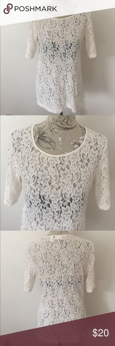 "Chico's Lace Top 2 Excellent condition. Front flat under arm side to side 20"". Length 27"". Size 2 in Chico's is a size 12. Chico's Tops"
