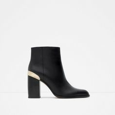 BLOCK HEEL LEATHER ANKLE BOOTS WITH GOLDEN PLAQUE-View all-SHOES-WOMAN | ZARA United States