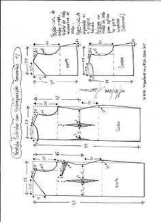 Esquema de modelagem de vestido de festa tubinho com sobreposição tamanho 42.