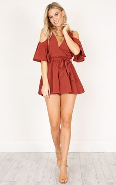 Showpo The Upside playsuit in rust - 6 (XS) Rompers & JumpsuitsThe Upside Playsuit is the perfect playsuit for a night out with your girls! Classy Outfits, Sexy Outfits, Sexy Dresses, Short Dresses, Girl Outfits, Cute Outfits, Fashion Outfits, Rave Costumes, Mini Skirt Dress