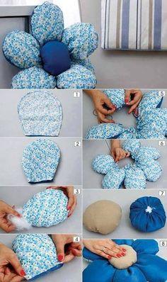 Eu amo costurar   Tutorial – Almofada de flor                                                                                                                                                      Mais