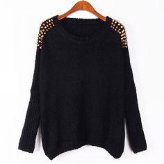 Unique Bat Sleeve Rivets Chain Pullover Sweater
