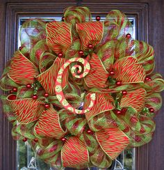 Deco Mesh Lime and Red Zebra with Initial Christmas Wreath