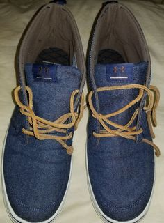 dc8f062736e4 Men s Preowned Under Armour Denim Leather Laces High Top Casual Shoes Size  9  Underarmour
