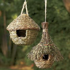 Natural Round Hut and Leafy Chalet Birdhouses from Through the Country Door®