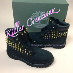 Custom spiked BLACK Timberland boots -any size - made to order ($195) found on Polyvore