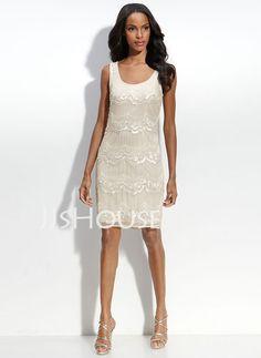 Wedding Dresses - $180.59 - Sheath/Column Scoop Neck Knee-Length Chiffon  Charmeuse Wedding Dresses With Lace  Beadwork (002012815) http://jjshouse.com/Sheath-Column-Scoop-Neck-Knee-length-Chiffon--Charmeuse-Wedding-Dresses-With-Lace--Beadwork-002012815-g12815