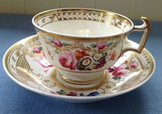 c1830 ENGLISH PORCELAIN FLORAL/GILDING DECORATED LARGE BREAKFAST CUP & SAUCER