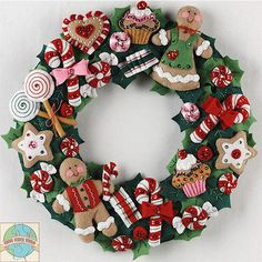 Felt Embroidery Kit ~ Plaid Christmas Cookies & Candy Holiday Wreath #86264
