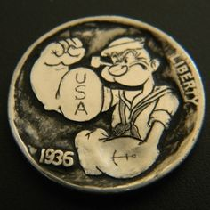 Al 'Z' Garr - Strong to The Finish Popeye Olive Oyl, Hobo Nickel, Coin Art, Old Coins, Kermit, Coin Collecting, Spinach, Buffalo, Arrow