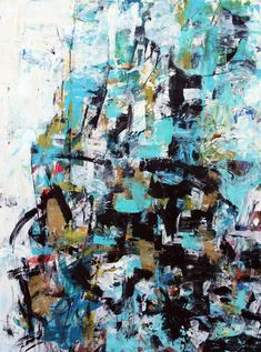 Julie Schumer Black and Turquoise, 25 X 19, mixed media on paper www.julieschumer.com