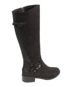 Bring equestrian flair to your wardrobe with this supple suede-accent boot featuring chunky buckled straps and a textured back shaft. Tall Boots, Suede Boots, New Today, Equestrian, Black Shoes, Riding Boots, Pairs, Women, Products