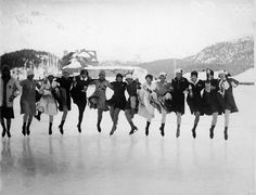 Competetors in the Ladies Figure Skating competiton, arms on each others ahoulders, jump in a line and kick their legs at the Winter Olympics in St. Moritz, Switzerland, February 1928. Among them are American skater Beatrix Loughran (fifth from left), and Norwegian skaters Edel Randem (sixth left), Sonja Henie (who won the competition) (seventh left), and Karen Simensen (second right). (Photo by FPG/Getty Images)