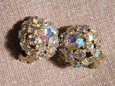 WeissVintage Earrings Aurora Borelis Rhinestones by dianadivine, $35.00
