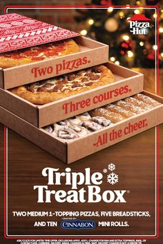 With two medium pizzas, breadsticks, & Cinnabon® Mini Rolls, the Triple Treat Box® is packed with a whole lotta cheer for the whole fam.🎄🎁 Triple Treat Box, Irish Lamb Stew, Crispy Baked Chicken Thighs, 30 Recipe, Mini Rolls, Project Mc2, Dessert Pizza, Cinnabon, Cute Desserts