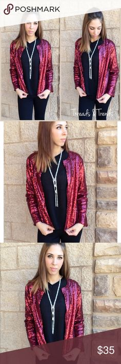 Wine Sequin Jacket Perfect for the holidays. Wine sequin jacket with satin lining. Size S/M , L/XL made of a poly blend. Threads & Trends Jackets & Coats