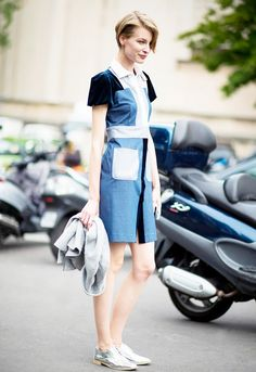 Denim dress + metallic oxfords