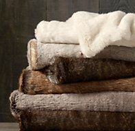 restoration hardware faux fur throw- the coziest