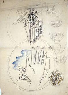 Gio Ponti, Schizzo per ceramiche alla Richard Ginori di Doccia, 30x41cm, courtesyl'artista e Ronchini Gallery