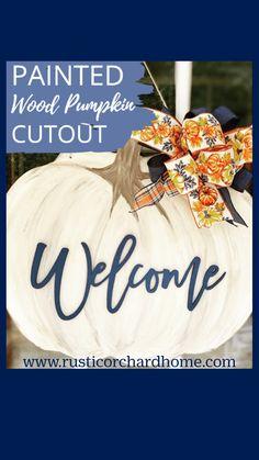 Wood Pumpkins, Painted Pumpkins, Pumpkin Decorating, Fall Decorating, Pumpkin Door Hanger, Fall Door Hangers, Fall Crafts, Diy Crafts, Diy Halloween Decorations