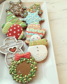Snowman, mittens, Christmas Tree, Wreath Cookies