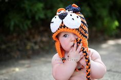 Auburn Tiger Hat INFANT/TODDLER Girl Crochet Beanie with Earflaps and Navy Crochet Bow Clip - 12 - 24 month or 2T - 4T. $28.50, via Etsy.