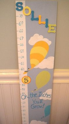 Wooden Growth Chart- Personalized and Handpainted- DR SEUSS INSPIRED Theme on Etsy, $76.99