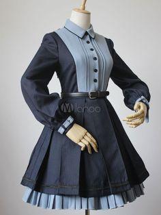 Vestido de Lolita para ocasión informal de cuello vuelto con manga larga Color liso de poliéster con cordonesde steampunk