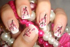 Japanese Blossom Arizona French Manicure Nail Art