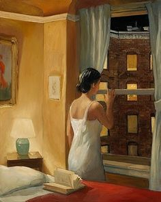 A la manière de Hopper...'Night Stories' by American painter Sally Storch (b.1952). via Figuration Feminine