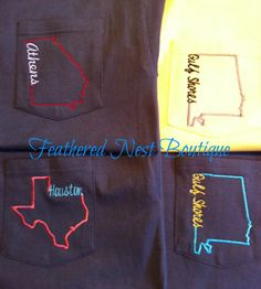 Custom State Line Pocket Tee Short Sleeved Shirt - choose your State  Town/Mascot/Organization