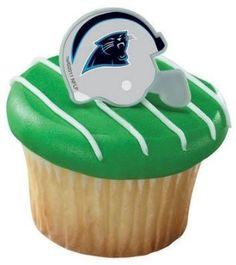 Cupcake Favor Rings - NFL Carolina Panthers Helmets (24)