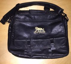 MGM Grand Logo Black Leather Bag Las Vegas Casino Laptop Carrier Vintage Luggage #MGMGrand