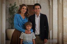 Queen Rania of Jordan with her sons Crown Prince Hussein of Jordan and Prince Hashem of Jordan