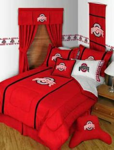 Ohio State Buckeyes 7PC Queen Comforter Bedding Set...For more kids room decor and organizing tips, ideas and products 'LIKE' https://www.facebook.com/KidsRoomDecor