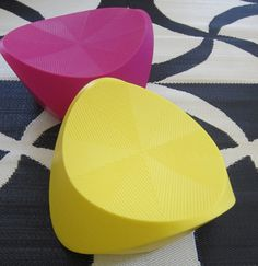These stools invite you to sit with their color!