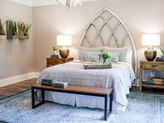 Repurposed Window As seen on Fixer Upper, this master bedroom was transformed when Joanna Gaines repurposed an old church window as a headboard. She also added wood accents and twin table lamps to warm the space. Rustic Master Bedroom, Home Decor Bedroom, Bedroom Furniture, Bedroom Ideas, Bedroom Designs, Bedroom Pictures, Bedroom Inspiration, Dream Bedroom, Bedroom Wall