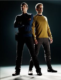 """Zachary Quinto and Chris Pine in character as """"Spock"""" and """"James Tiberius Kirk"""" from """"Star Trek"""", 2009. Baaaaabbbbees."""