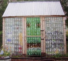 Ideas for ways to reuse plastic bottles - this greenhouse is awesome - Plastic Bottle Greenhouse