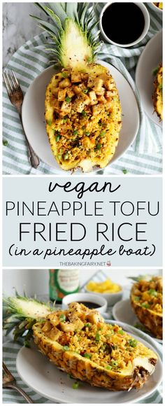 Vegan Pineapple Tofu Fried Rice is a delicious homemade version of the take-out favorite. and it's even more fun when served in pineapple boats! Pineapple Boats, Pineapple Fried Rice, Baked Crispy Tofu, Vegetarian Recipes, Healthy Recipes, Tofu Recipes, Vegan Vegetarian, Vegan Appetizers, Vegan Dishes