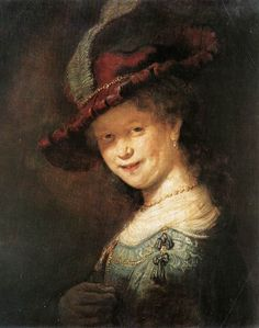 "REMBRANDT ""Portrait of the Young Saskia"" 1633, Oil on oak, 53 cm x 45 cm, Gemäldegalerie, Dresden"